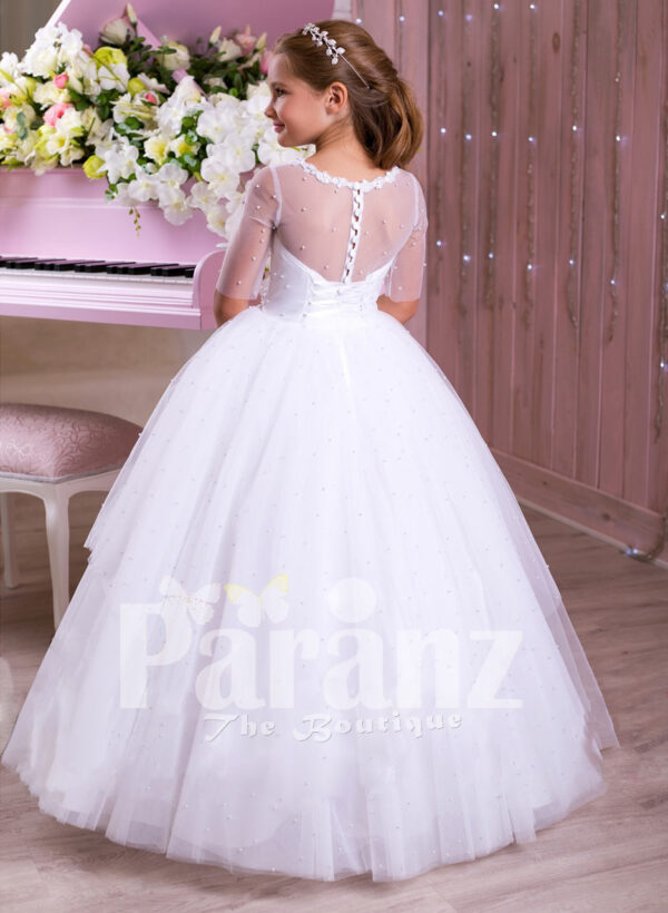 Elegant pearl white floor length tulle skirt party gown with multi-color rhinestone belt back side view