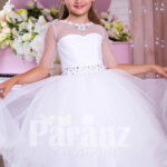 Elegant pearl white floor length tulle skirt party gown with multi-color rhinestone belt for girls