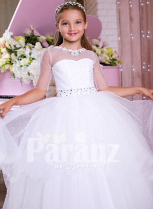 Elegant pearl white floor length tulle skirt party gown with multi-color rhinestone belt for girls