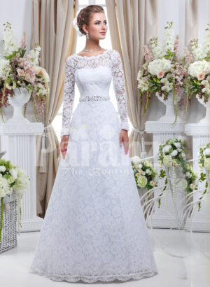 Elegant pearl white floor length tulle skirt wedding gown with over all lace works