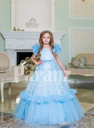 Elegant sky blue floor length baby gown with ruffle sleeve and long tulle-ruffle skirt