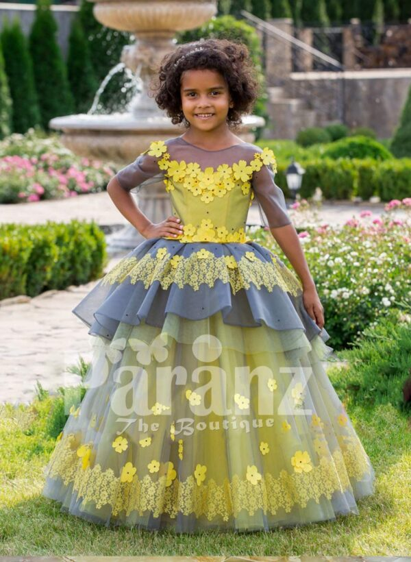 Elegant yellow-grey floor length flared tulle skirt baby gown with amazing floral works