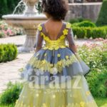 Elegant yellow-grey floor length flared tulle skirt baby gown with amazing floral works back side view