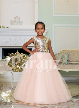 Exciting golden glitz bodice sleeveless baby gown with flared and high volume pink tulle skirt