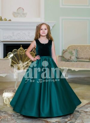 Exclusive deep green velvet bodice baby gown with rich satin bottle green floor length skirt
