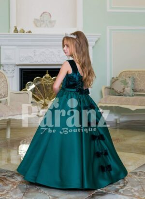 Exclusive deep green velvet bodice baby gown with rich satin bottle green floor length skirt side view