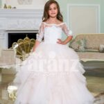 Exclusive pearl white high volume tulle-ruffle skirt baby gown with satin-sheer floral bodice