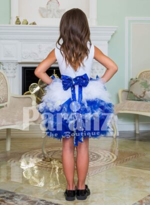 Exclusive white-blue ruffle cloud skirt elegant party dress with rich satin white bodice for girls Back side view