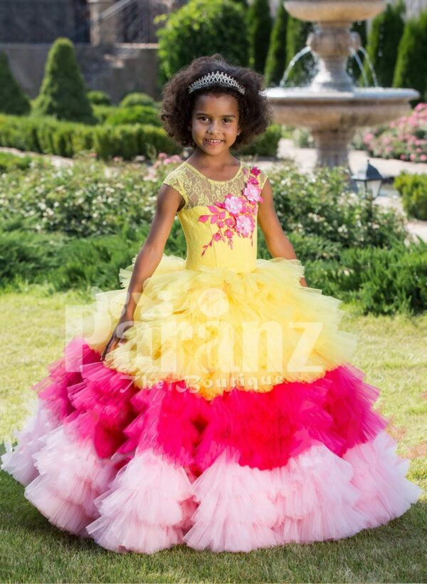 Floor length flared and high volume ruffle-tulle skirt dress for girls with floral bodice