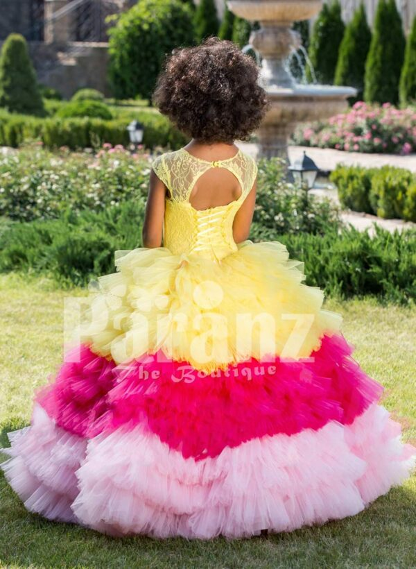 Floor length flared and high volume ruffle-tulle skirt dress for girls with floral bodice back side view