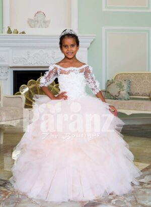 Floor length pearl white high volume tulle skirt baby gown with floral lace work bodice
