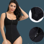 Front Zipper Closure & Waist Slimmer Body Shaper Suit In black
