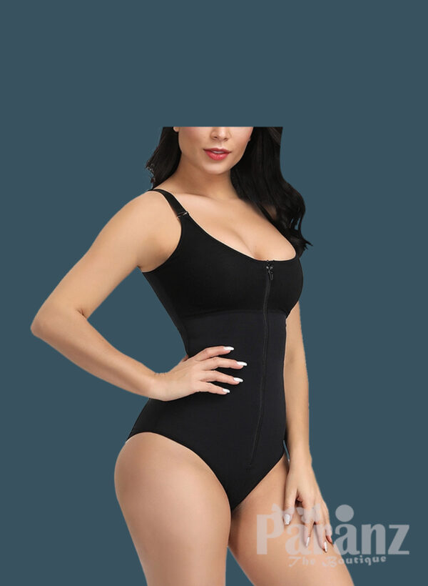 Front Zipper Closure & Waist Slimmer Body Shaper Suit In black f (1)