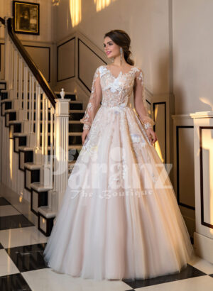 Full Arabian styled sleeve flared tulle evening gown with flower appliquéd bodice