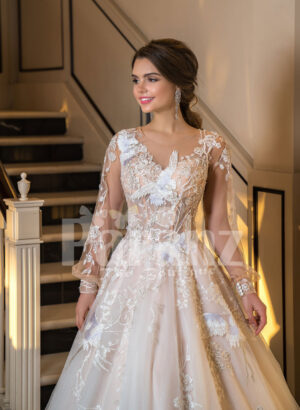 Full Arabian styled sleeve flared tulle evening gown with flower appliquéd bodice for women