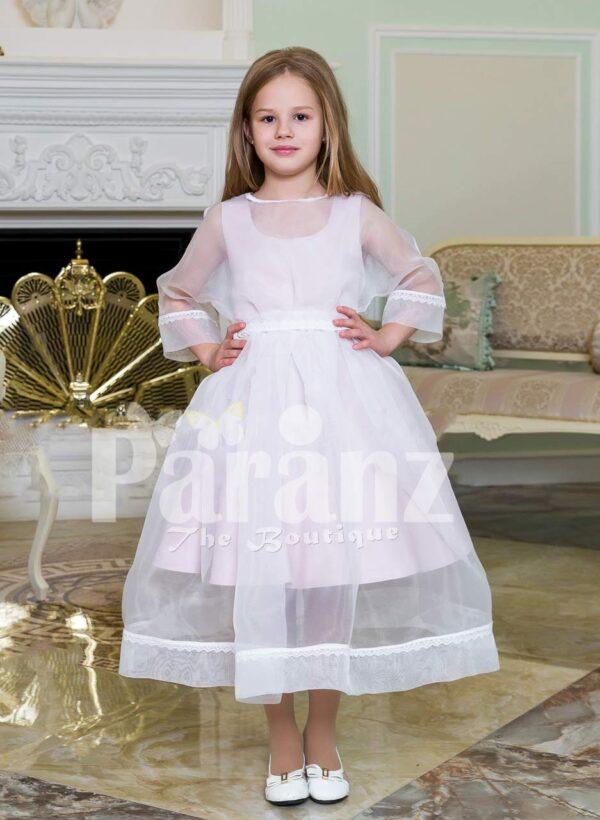 Full sheer sleeve rich satin white tea length dress for girls
