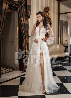 Full sheer sleeves side slit wedding tulle gown in snow white