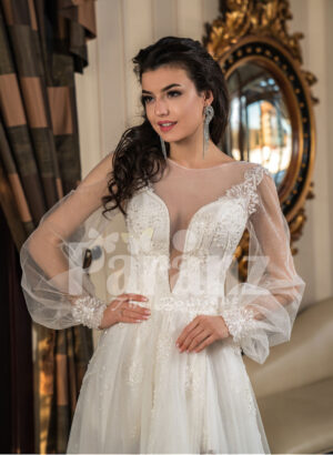 Full sheer sleeves side slit wedding tulle gown in snow white close view