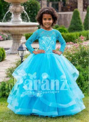 Full sleeve sky blue rich satin-sheer bodice baby party gown with multi-layer flared tulle skirt