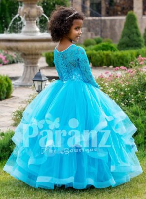 Full sleeve sky blue rich satin-sheer bodice baby party gown with multi-layer flared tulle skirt side view
