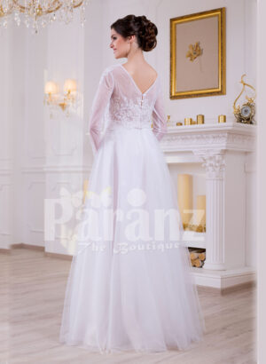 Full sleeve super stylish pearl white floor length wedding gown with tulle skirt back side view