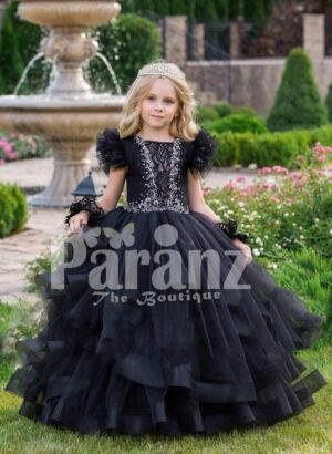 Glam black floor length multi-layer tulle skirt gown with white floral work elite bodice