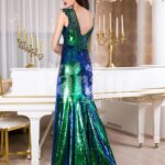 Glitz black-blue-green floor length mermaid style evening satin gown for women back side view