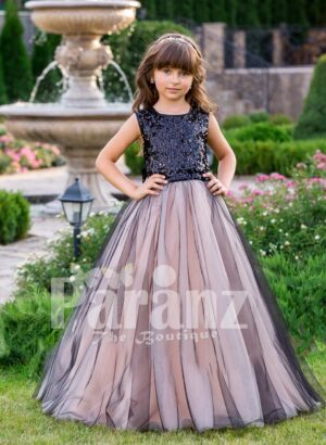 Glitz black sequin bodice baby gown with blue sheer pink tulle floor length skirt