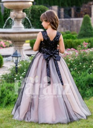 Glitz black sequin bodice baby gown with blue sheer pink tulle floor length skirt back side view