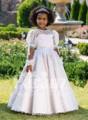 Light metallic pink sheer sleeve flared tulle skirt gown with rhinestone-lace work waistline