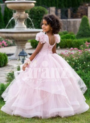 Light pink multi-layer floor length tulle skirt baby gown with royal bodice back side view