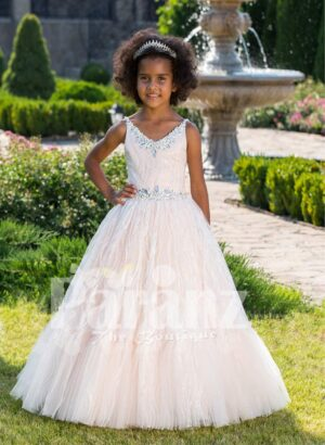 Light pink sleeveless baby party gown with rhinestone neckline and floor length tulle skirt