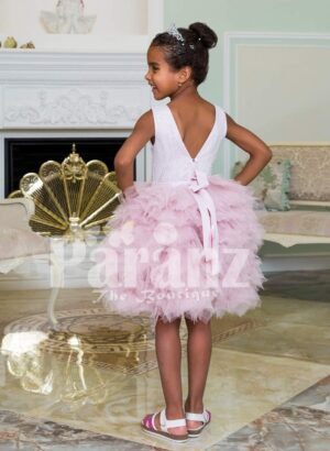 Little girls' elegant ruffle cloud skirt tea length party dress with royal white bodice back side view