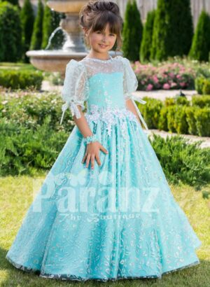 Metallic sky blue rich satin floor length baby gown with glitz floral works all over
