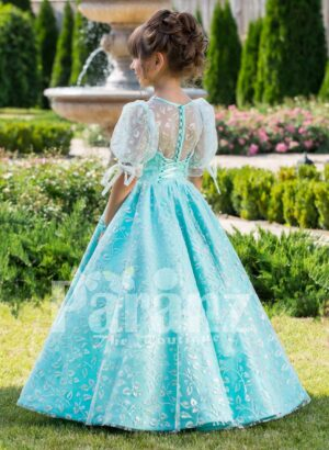 Metallic sky blue rich satin floor length baby gown with glitz floral works all over Back side view