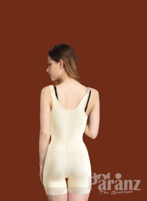 Mid Thigh Body Suit With Lace & Front Zipper Closure off White back side view