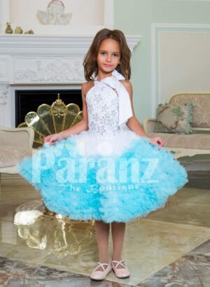 Multi-color tea length cloud ruffle elegant party dress for girls
