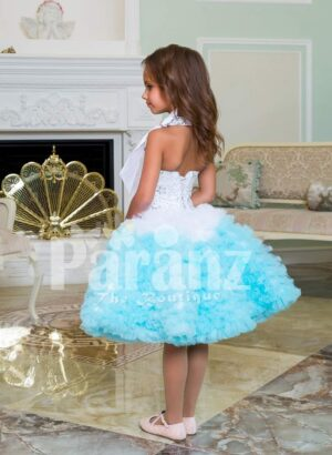 Multi-color tea length cloud ruffle elegant party dress for girls side view