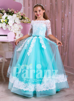 Off-shoulder rich white lace work mint blue floor length tulle skirt gown for girls