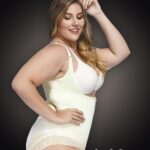 Open-bust style all white front zipper closure underwear body shaper new Side view
