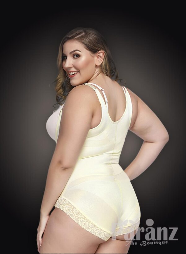 Open-bust style all white front zipper closure underwear body shaper new back Side view