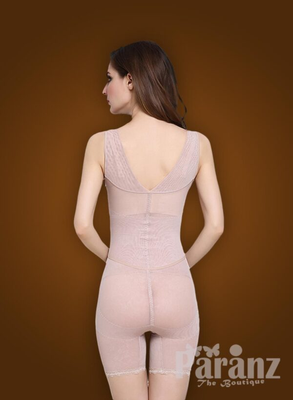 Open-bust style beautiful mauve underwear body shaper new back side view