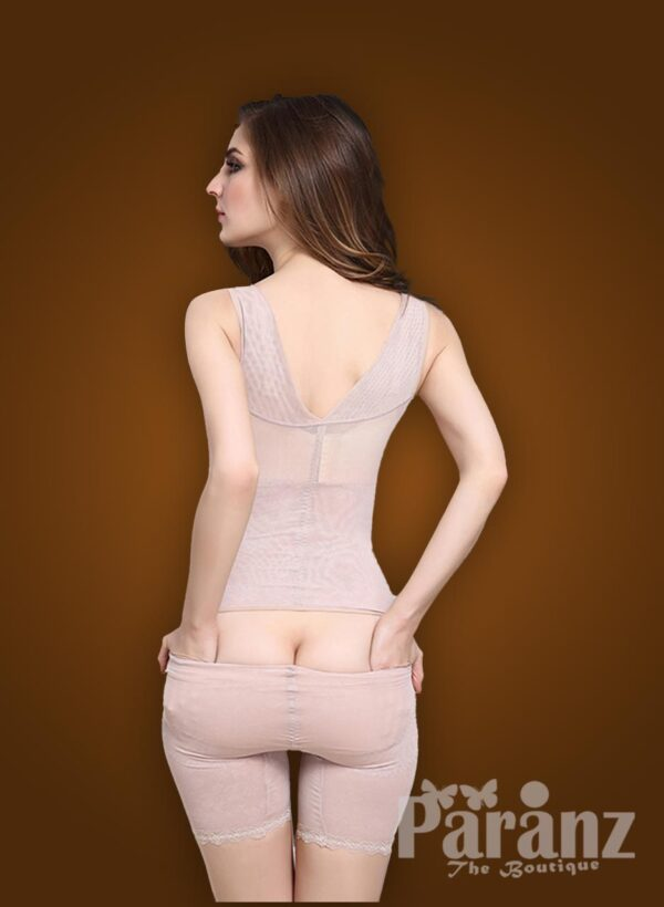 Open-bust style beautiful mauve underwear body shaper new back side views
