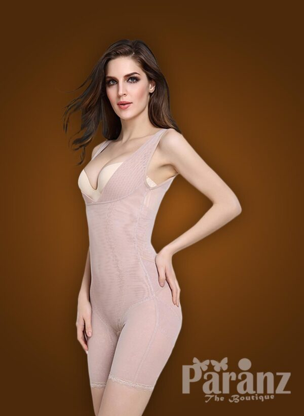 Open-bust style beautiful mauve underwear body shaper new side view