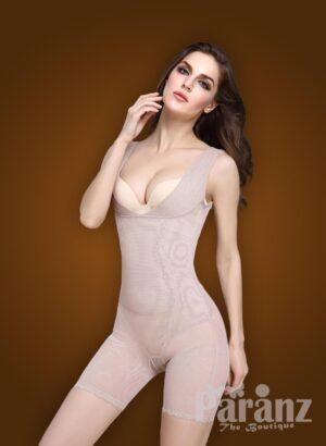 Open-bust style beautiful mauve underwear body shaper new side views