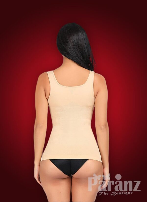 Open-bust style elastic sleeve high waist correcting body shaper new back side view