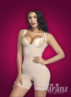 Open-bust style full body shaper with front zipper closure new Mild back side views