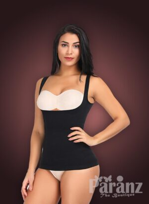 Open-bust style sleeveless high waist slimming black body shaper New