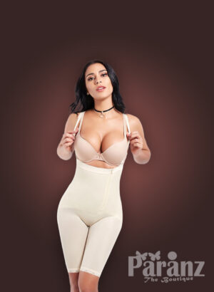 Open bust style tummy slimming body shaper with front zipper closure new views (4)