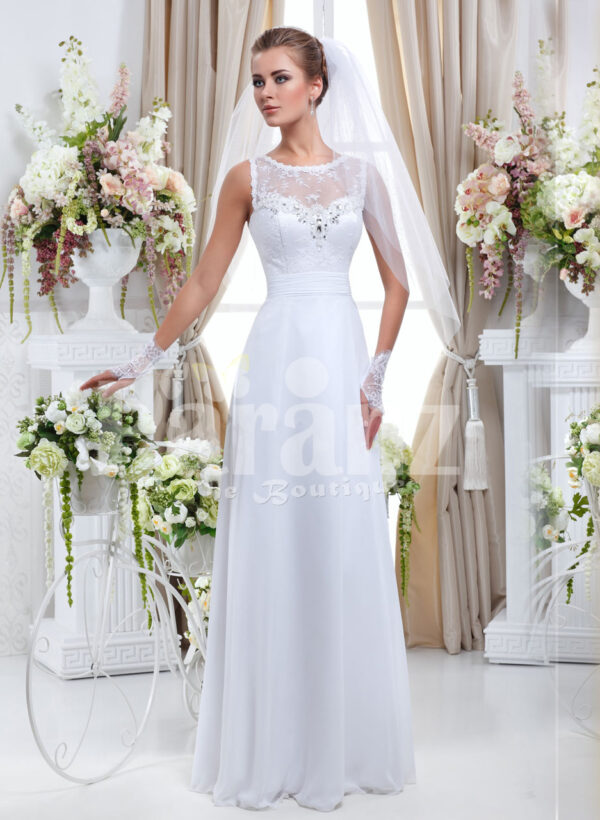 Paranz's exclusive pearl white wedding gown with satin-sheer royal bodice for women